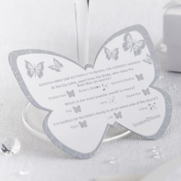 Elegant Butterfly Scratch Card Trivia - White & Silver (10)